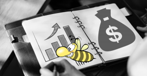 KPIs für Anzeigen, Diagramm auf Block, Geldsack auf der gegenüberliegenden Seite und eine Biene im Vordergrund