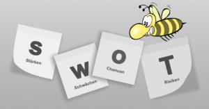 SWOT-Buchstaben auf Zettelchen aufgelistet, Biene im Hintergrund